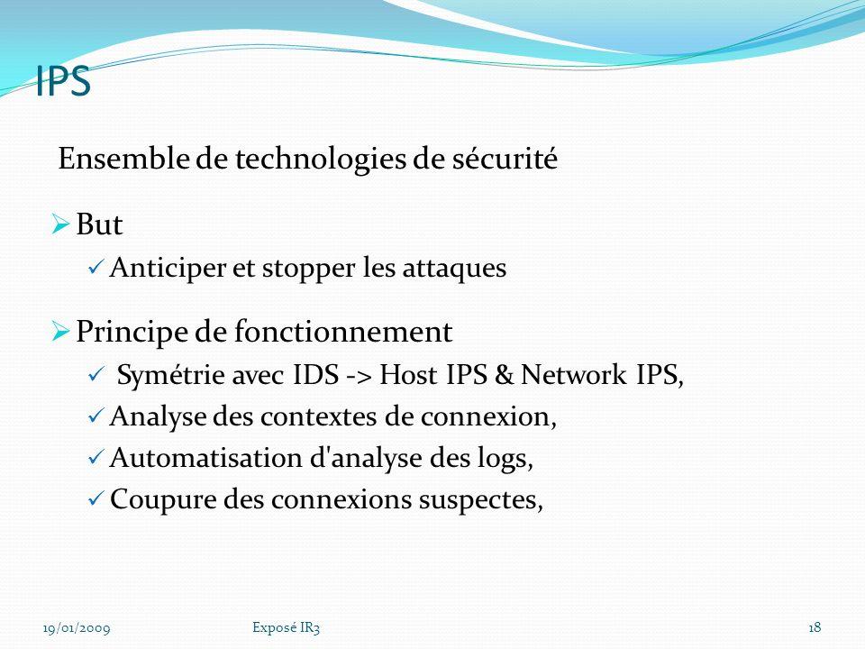 IPS Ensemble de technologies de sécurité But
