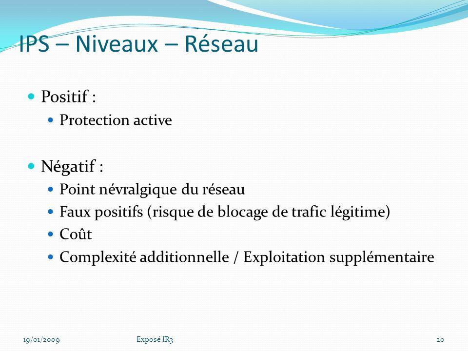 IPS – Niveaux – Réseau Positif : Négatif : Protection active