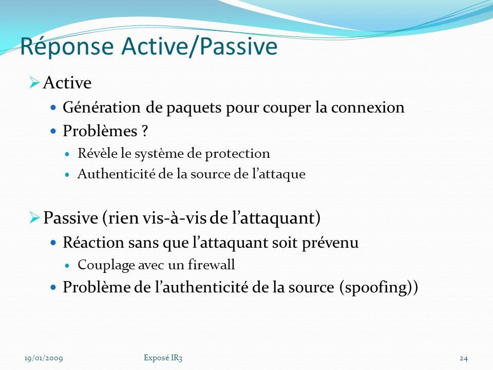 Réponse Active/Passive