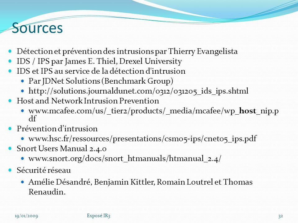 Sources Détection et prévention des intrusions par Thierry Evangelista