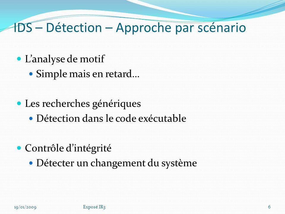 IDS – Détection – Approche par scénario
