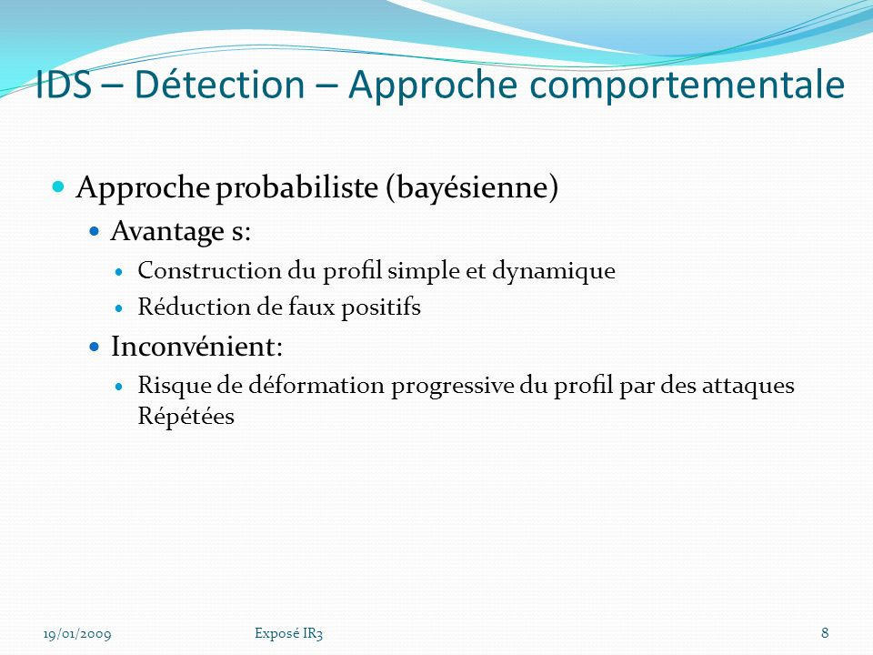 IDS – Détection – Approche comportementale