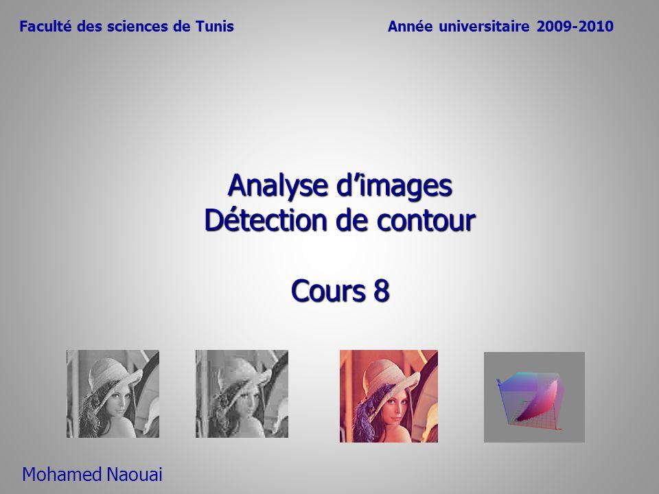 Analyse d'images Détection de contour Cours 8