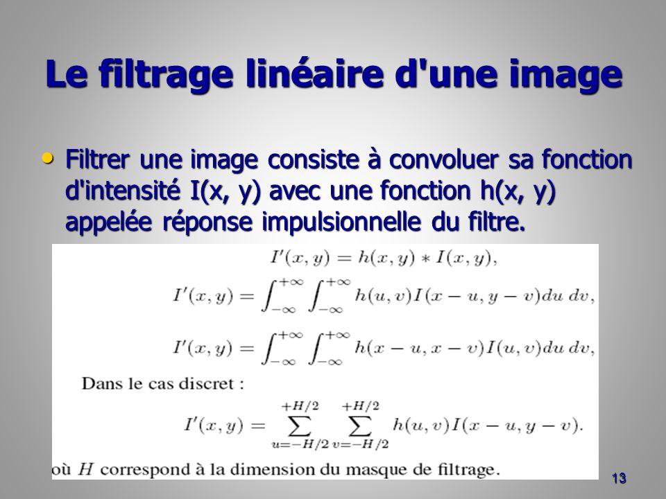 Le filtrage linéaire d une image