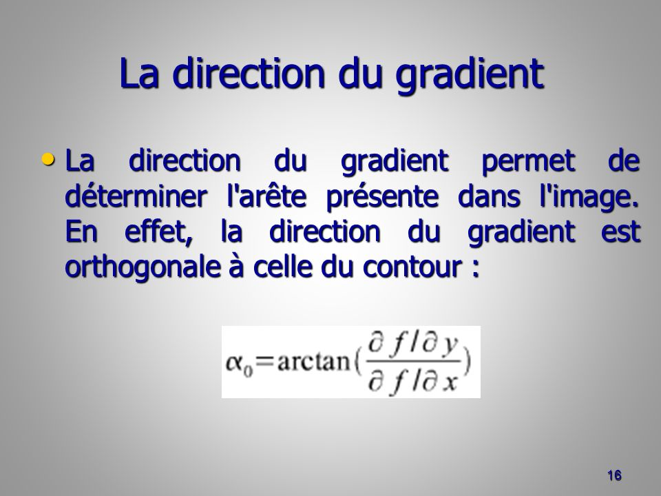 La direction du gradient