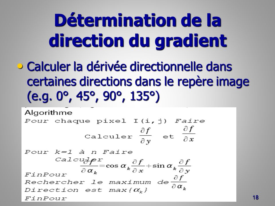 Détermination de la direction du gradient
