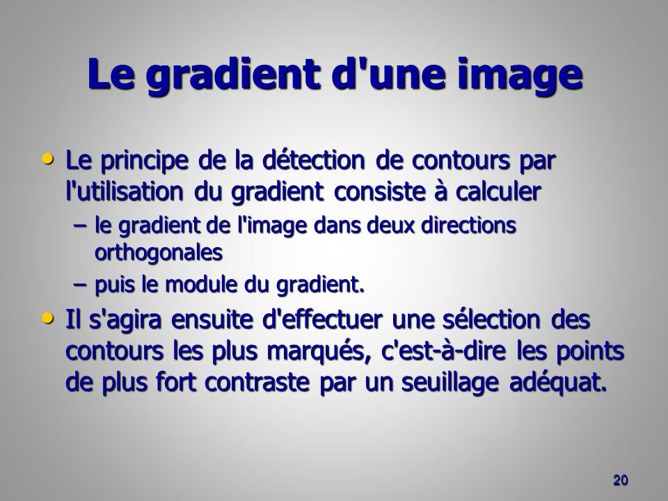 Le gradient d une image Le principe de la détection de contours par l utilisation du gradient consiste à calculer.