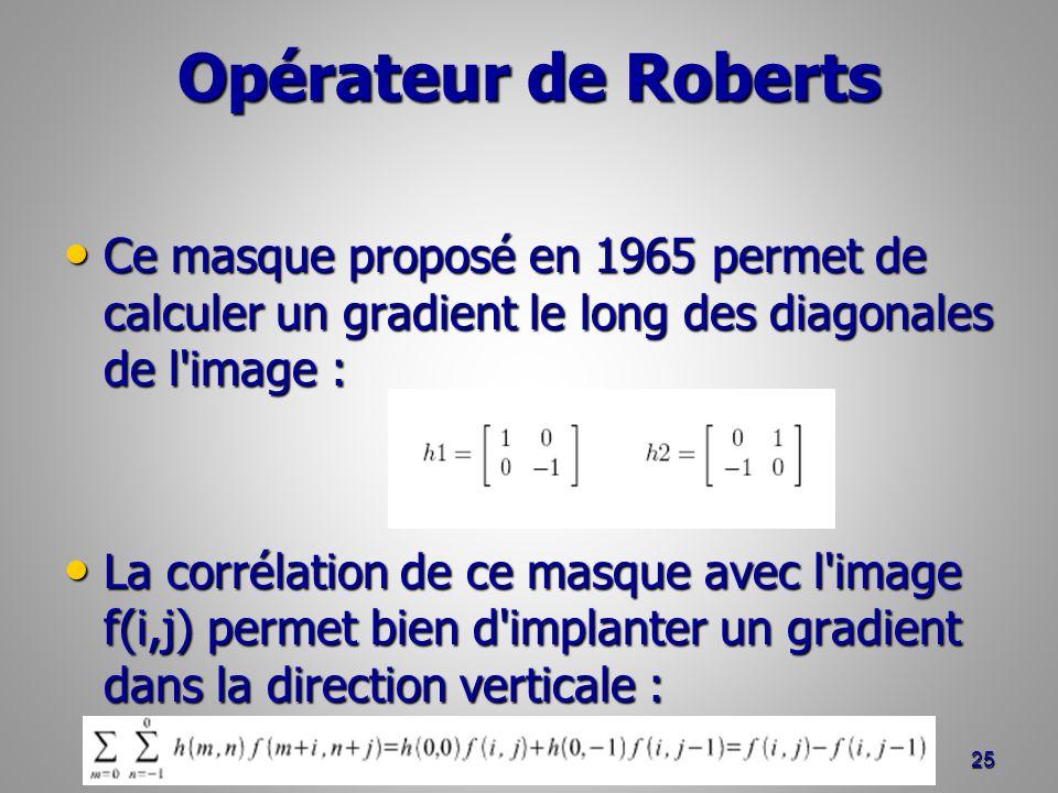 Opérateur de Roberts Ce masque proposé en 1965 permet de calculer un gradient le long des diagonales de l image :