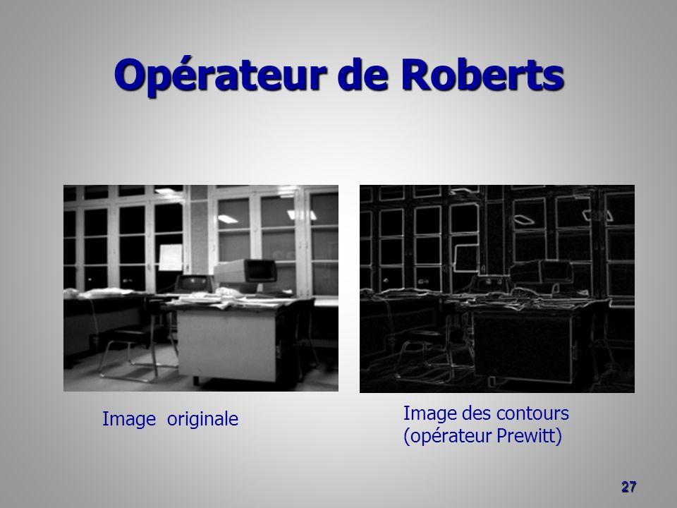Opérateur de Roberts Image des contours Image originale