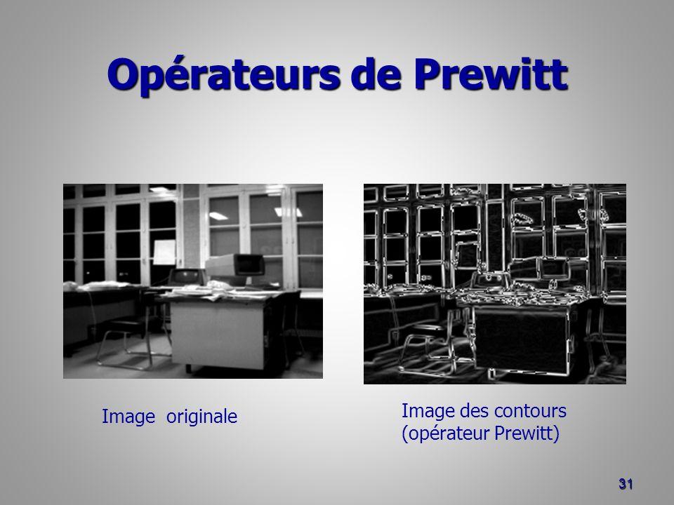 Opérateurs de Prewitt Image des contours Image originale