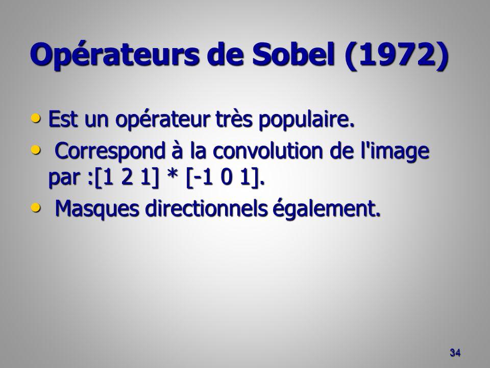 Opérateurs de Sobel (1972) Est un opérateur très populaire.