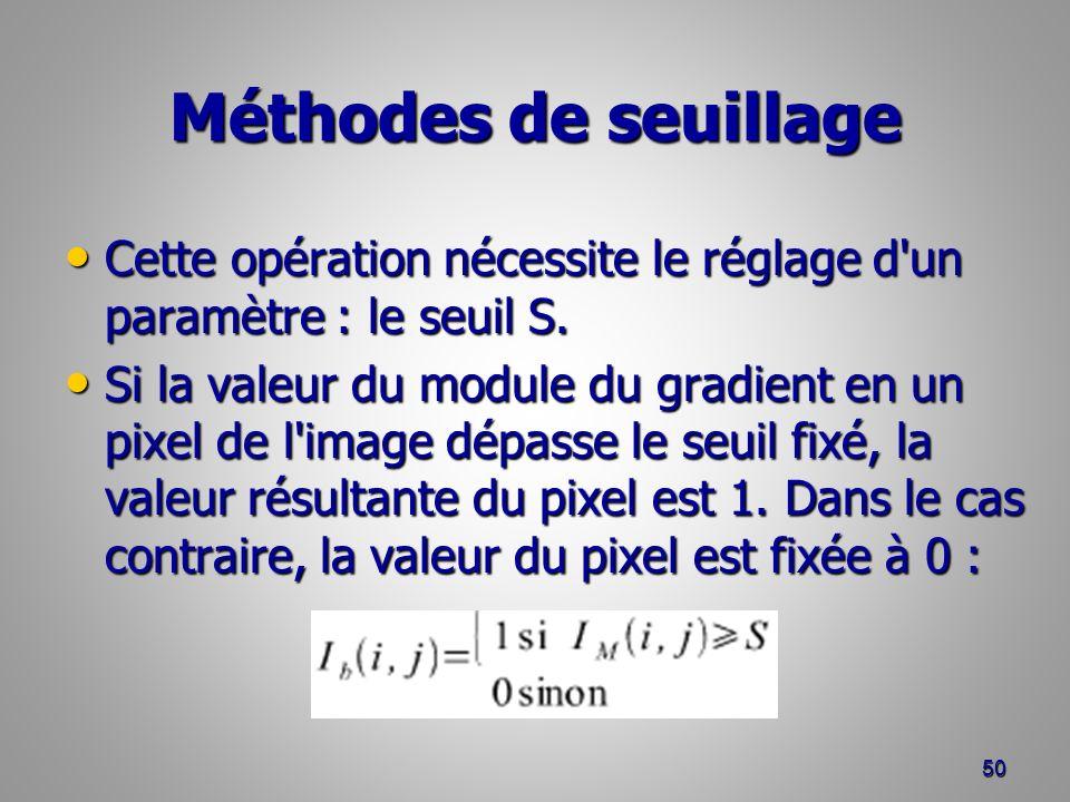 Méthodes de seuillage Cette opération nécessite le réglage d un paramètre : le seuil S.