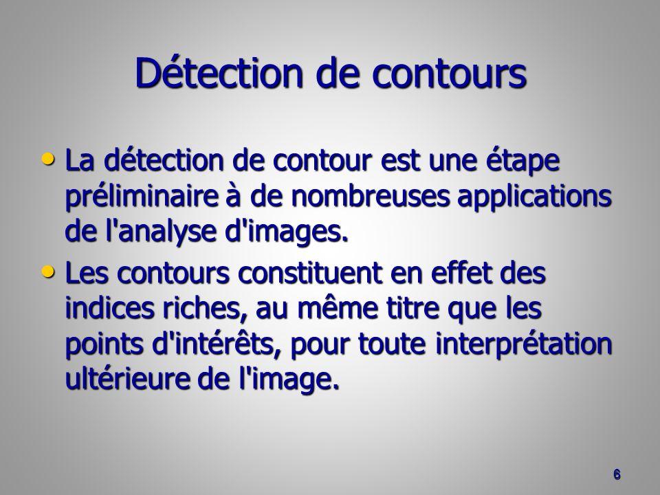 Détection de contours La détection de contour est une étape préliminaire à de nombreuses applications de l analyse d images.