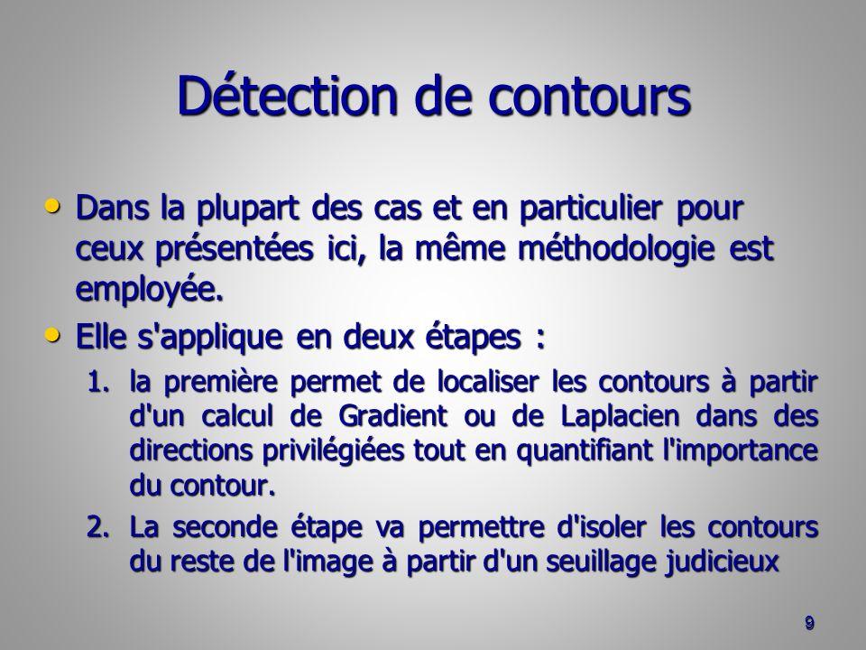 Détection de contours Dans la plupart des cas et en particulier pour ceux présentées ici, la même méthodologie est employée.