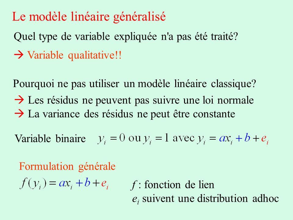 Le modèle linéaire généralisé