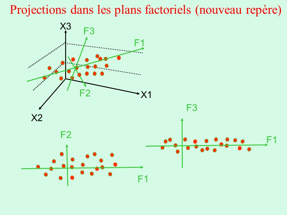 Projections dans les plans factoriels (nouveau repère)