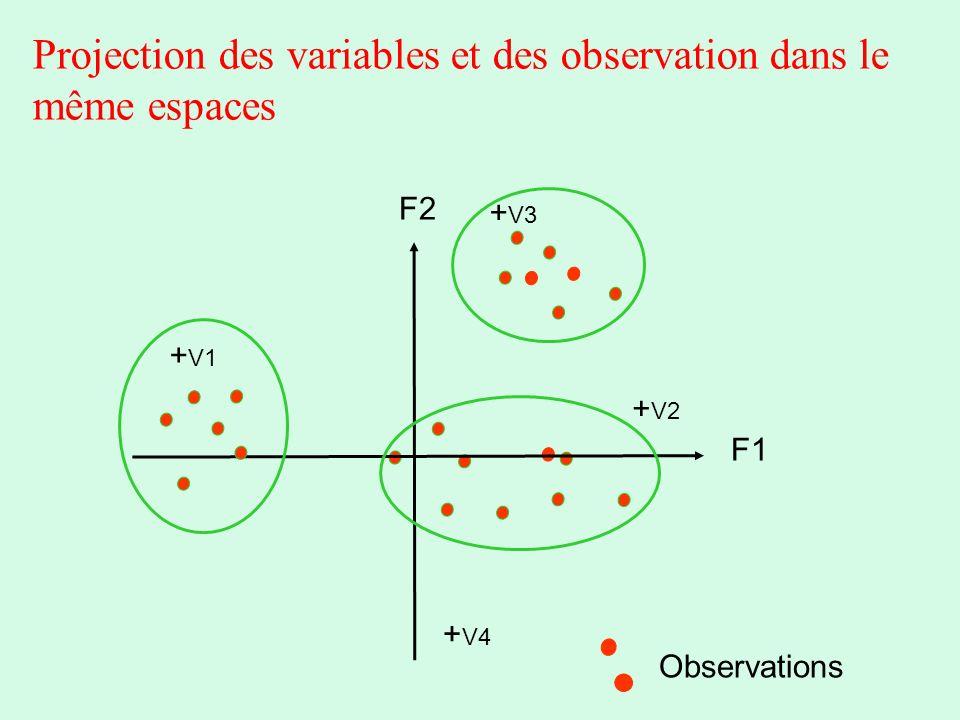Projection des variables et des observation dans le même espaces