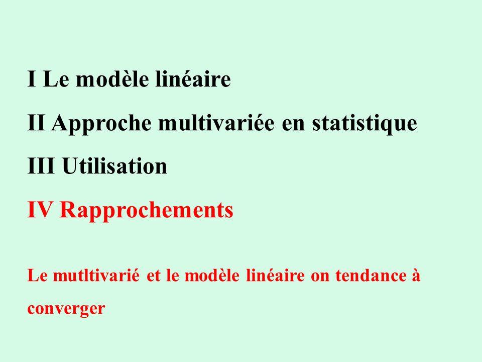 II Approche multivariée en statistique III Utilisation