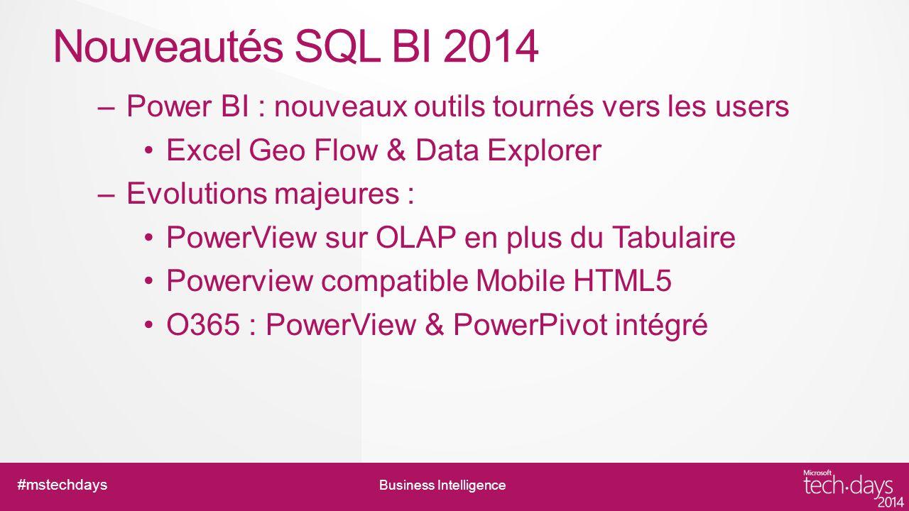 Nouveautés SQL BI 2014 Power BI : nouveaux outils tournés vers les users. Excel Geo Flow & Data Explorer.