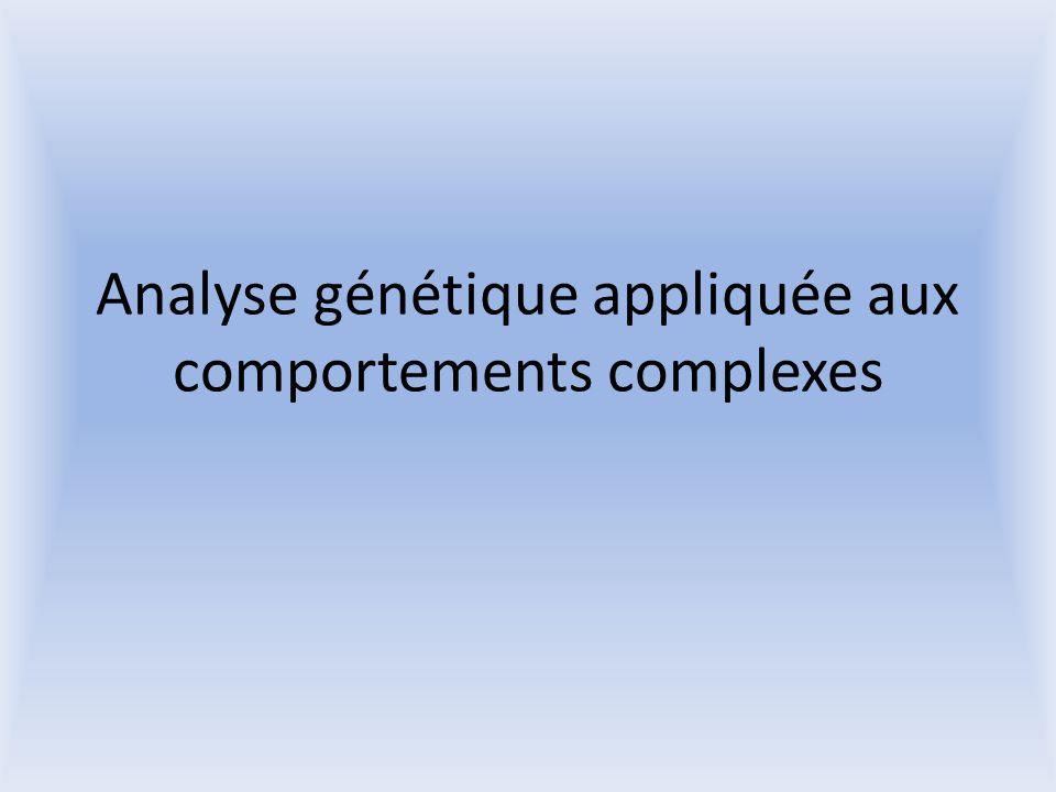 Analyse génétique appliquée aux comportements complexes