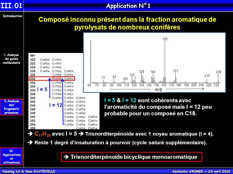 III.01 Application N°1. Introduction. Composé inconnu présent dans la fraction aromatique de pyrolysats de nombreux conifères.