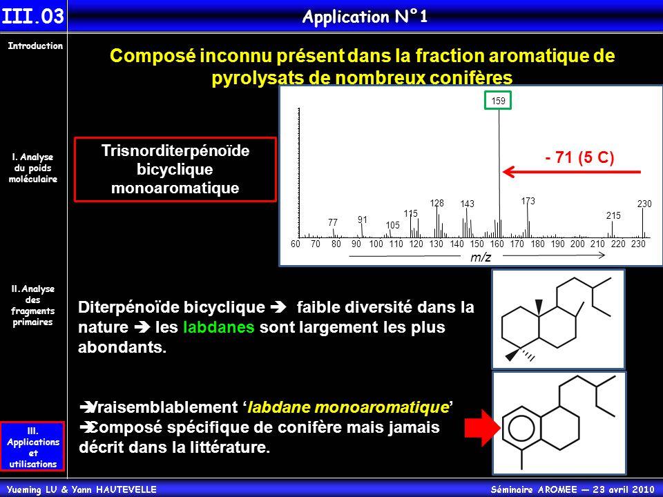 III.03 Application N°1. Introduction. Composé inconnu présent dans la fraction aromatique de pyrolysats de nombreux conifères.