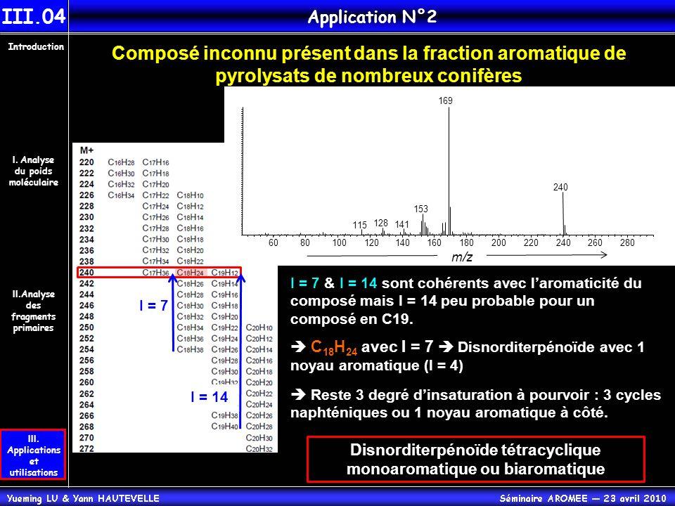 III.04 Application N°2. Introduction. Composé inconnu présent dans la fraction aromatique de pyrolysats de nombreux conifères.