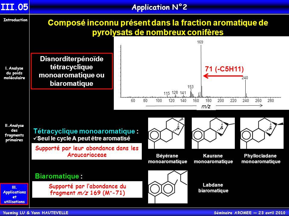 III.05 Application N°2. Introduction. Composé inconnu présent dans la fraction aromatique de pyrolysats de nombreux conifères.
