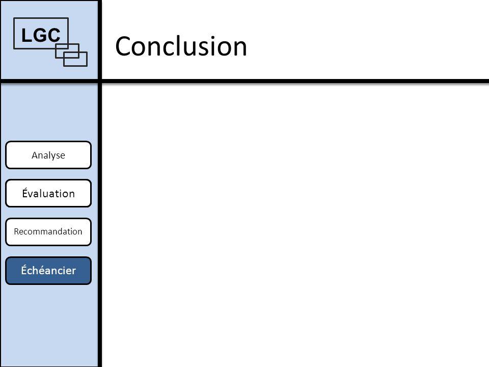 Conclusion LGC Évaluation Offre Échéancier Analyse Offre