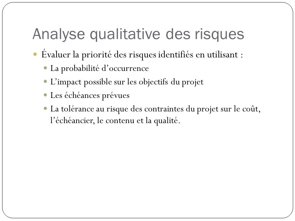 Analyse qualitative des risques