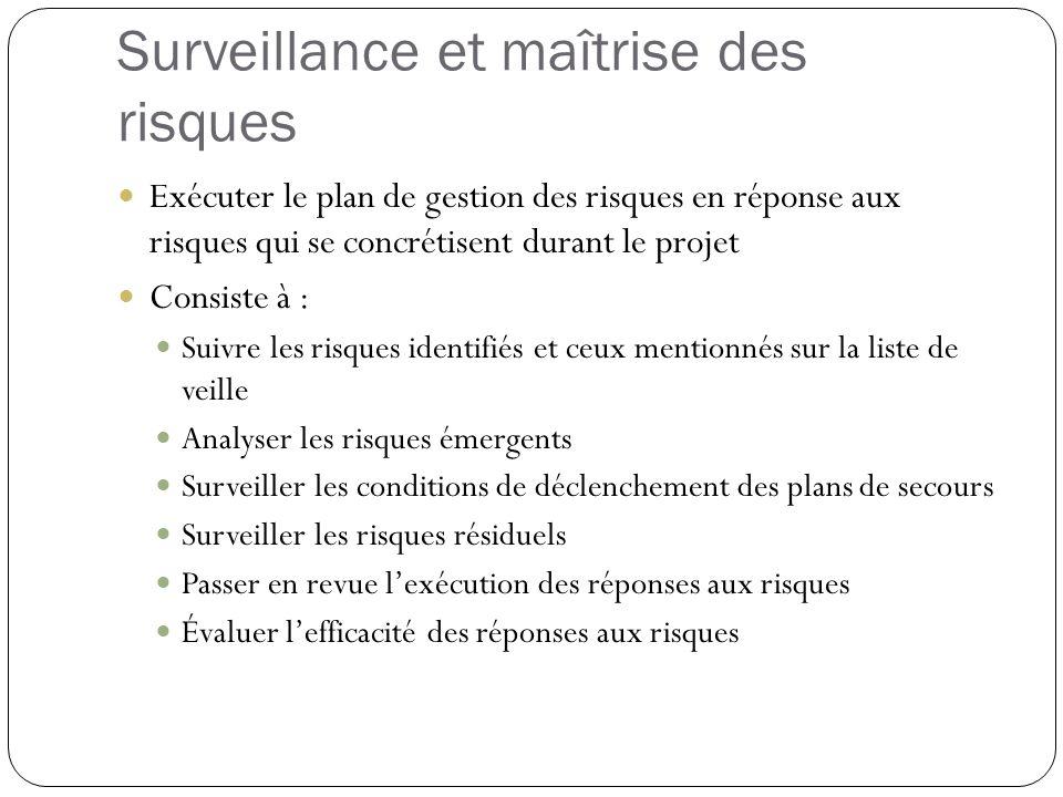 Surveillance et maîtrise des risques