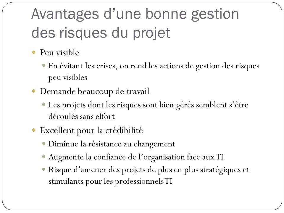 Avantages d'une bonne gestion des risques du projet