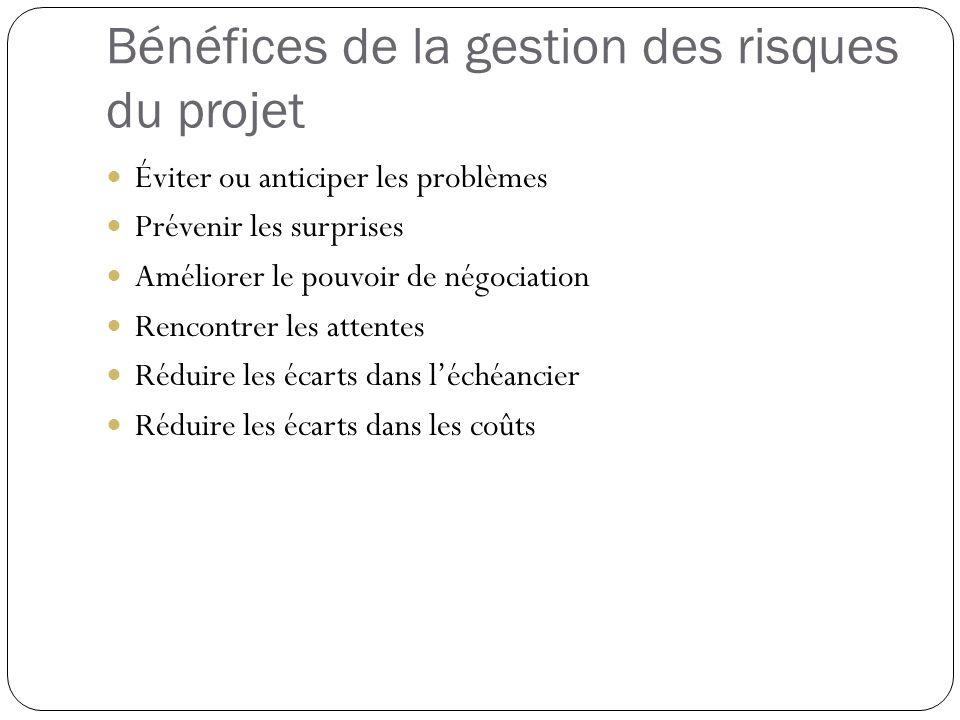 Bénéfices de la gestion des risques du projet
