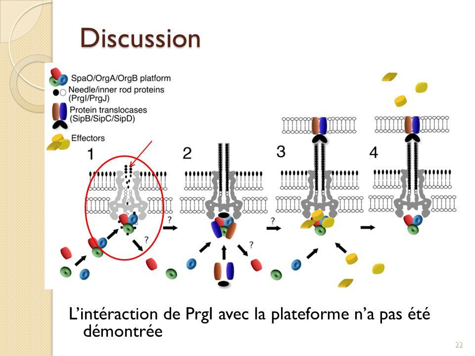 Discussion L'intéraction de PrgI avec la plateforme n'a pas été démontrée