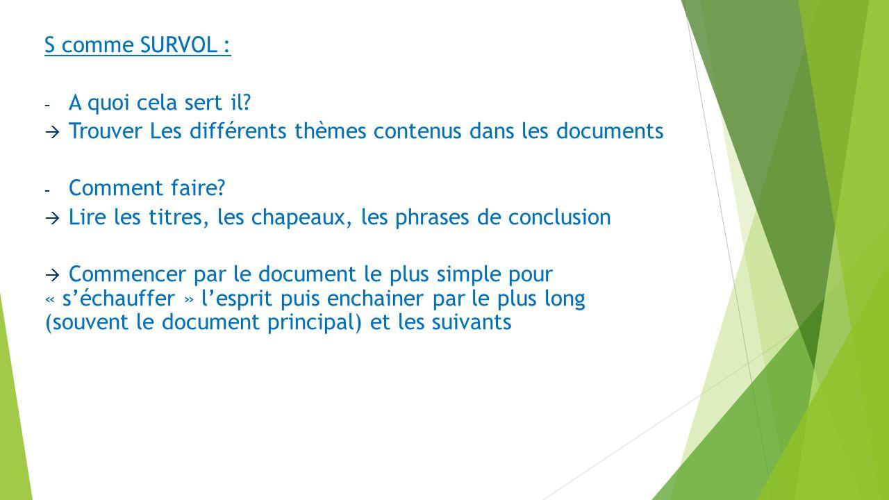 S comme SURVOL : A quoi cela sert il Trouver Les différents thèmes contenus dans les documents. Comment faire