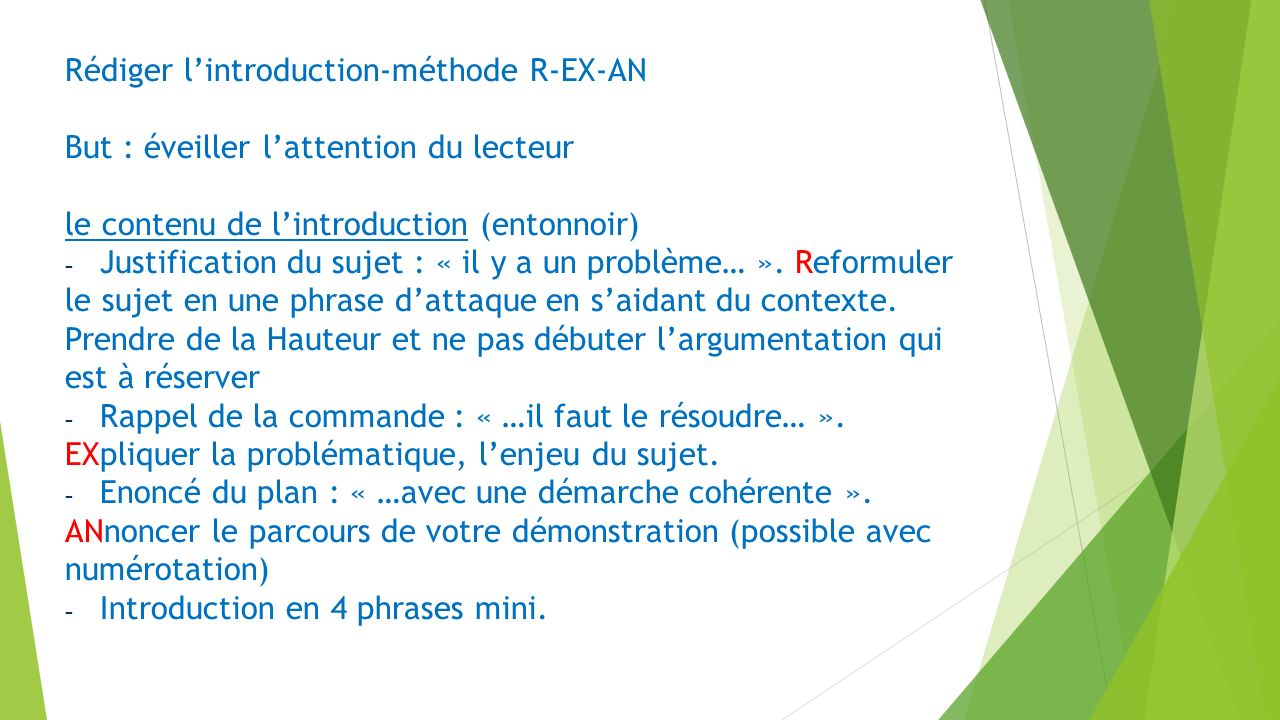 Rédiger l'introduction-méthode R-EX-AN