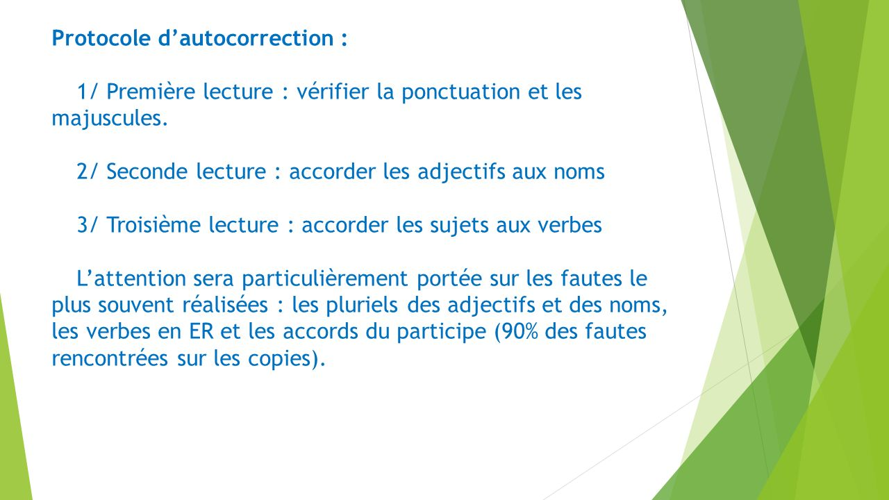 Protocole d'autocorrection :