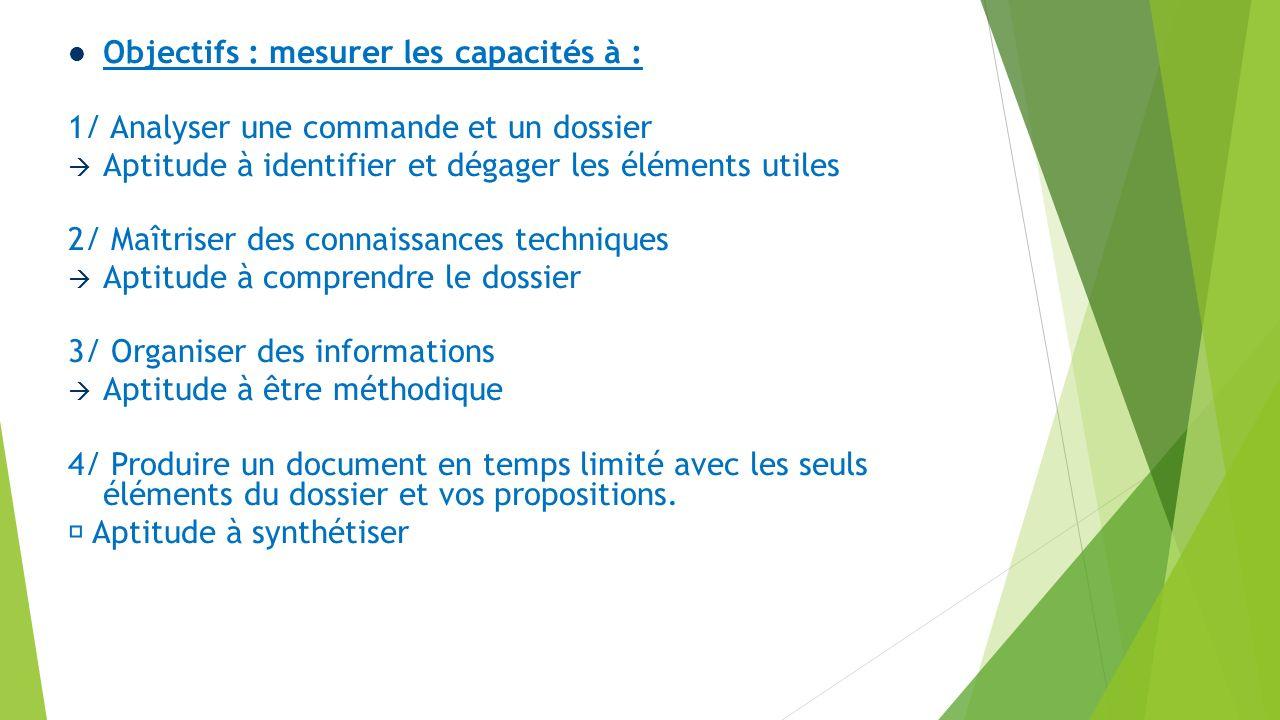 Objectifs : mesurer les capacités à :