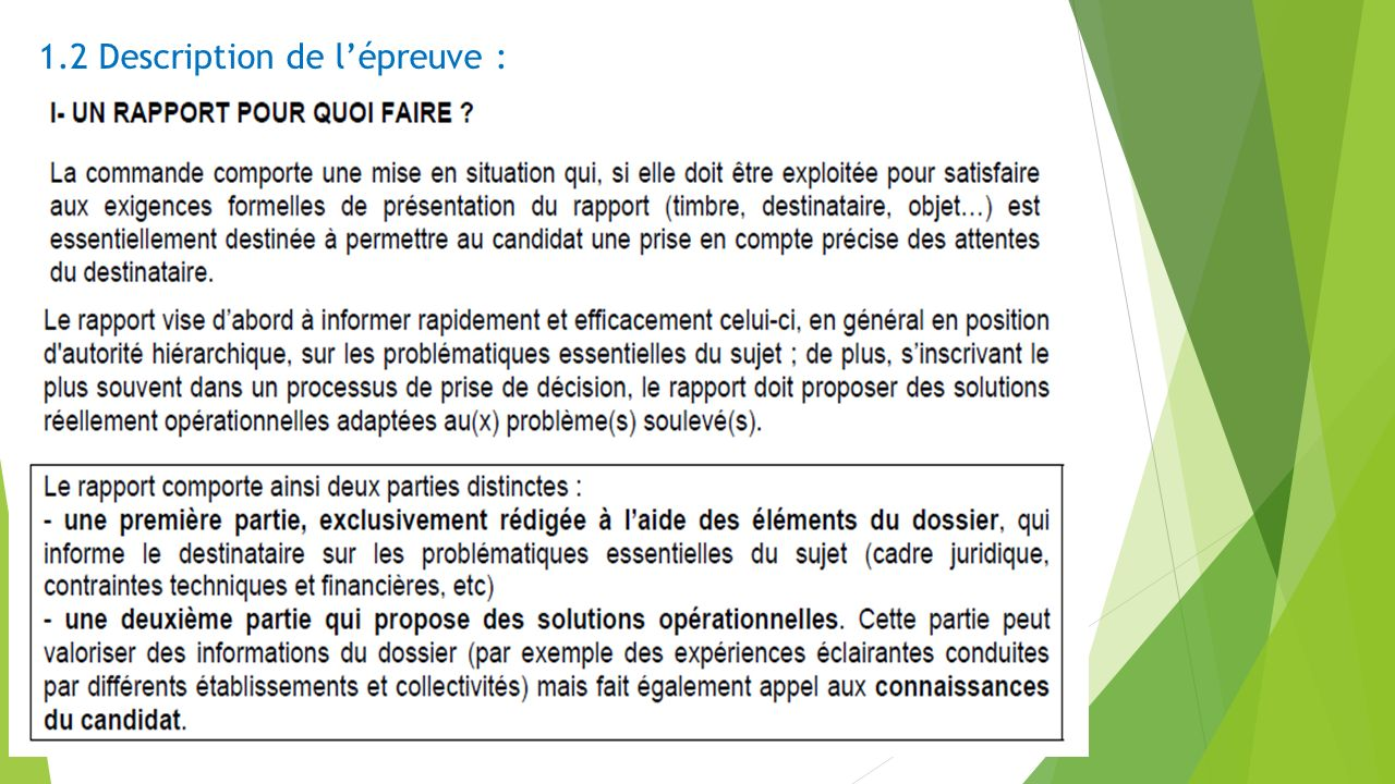1.2 Description de l'épreuve :