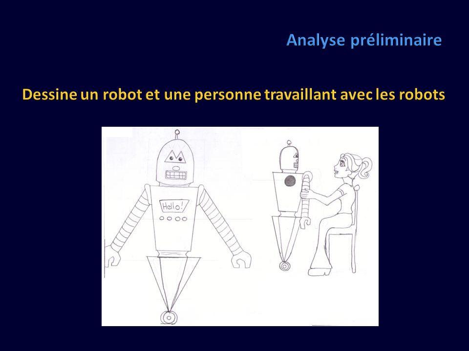 Analyse préliminaire Dessine un robot et une personne travaillant avec les robots Girl