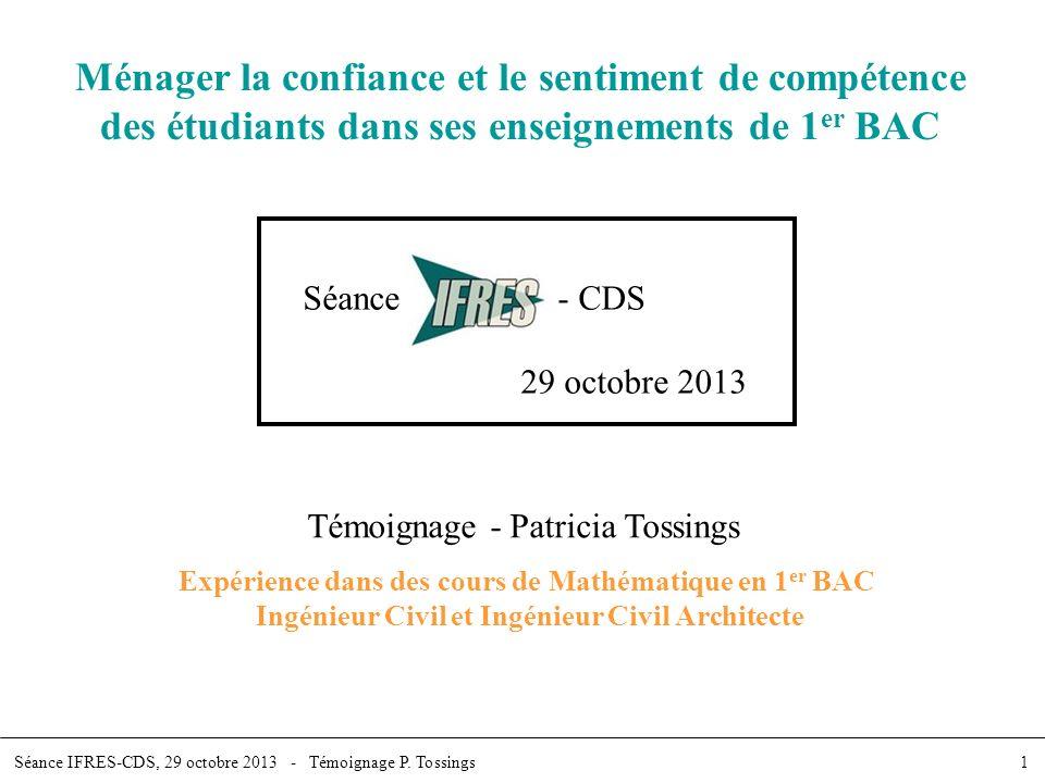 Ménager la confiance et le sentiment de compétence des étudiants dans ses enseignements de 1er BAC