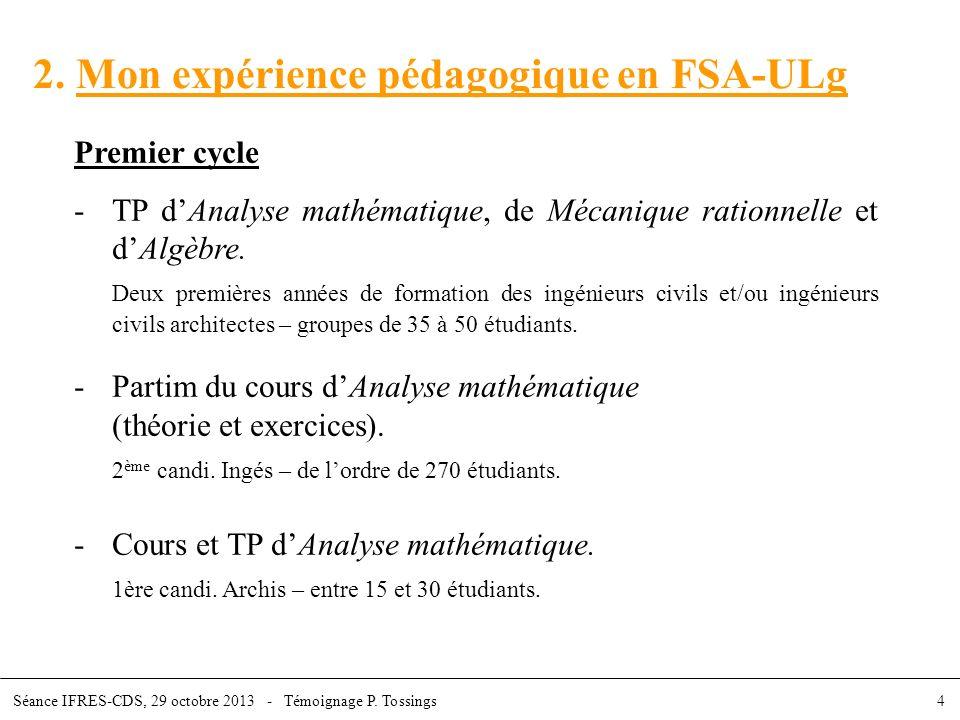 2. Mon expérience pédagogique en FSA-ULg