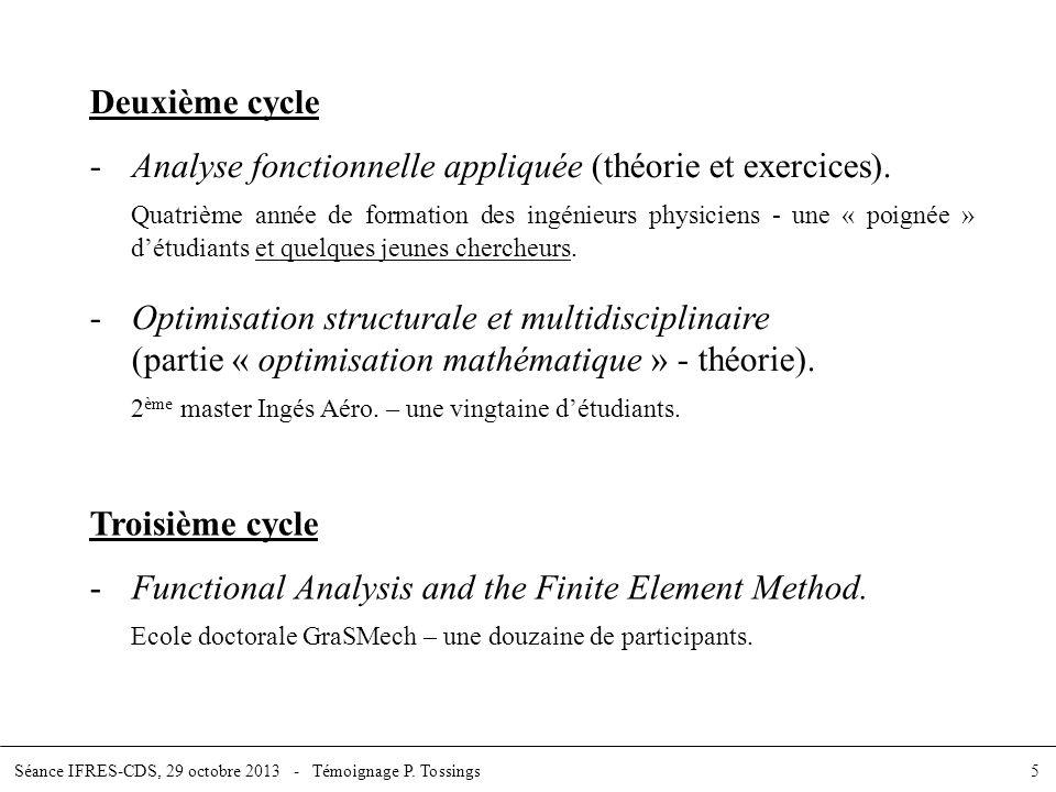 - Analyse fonctionnelle appliquée (théorie et exercices).
