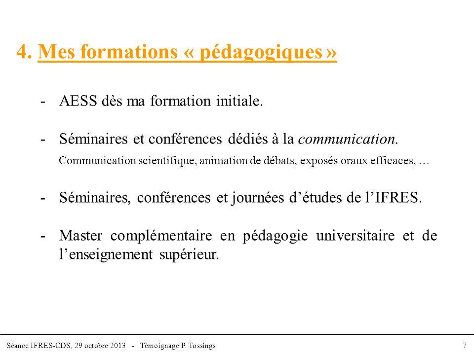 4. Mes formations « pédagogiques »