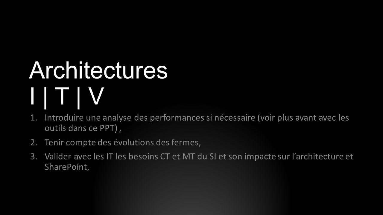 Architectures I | T | V Introduire une analyse des performances si nécessaire (voir plus avant avec les outils dans ce PPT) ,
