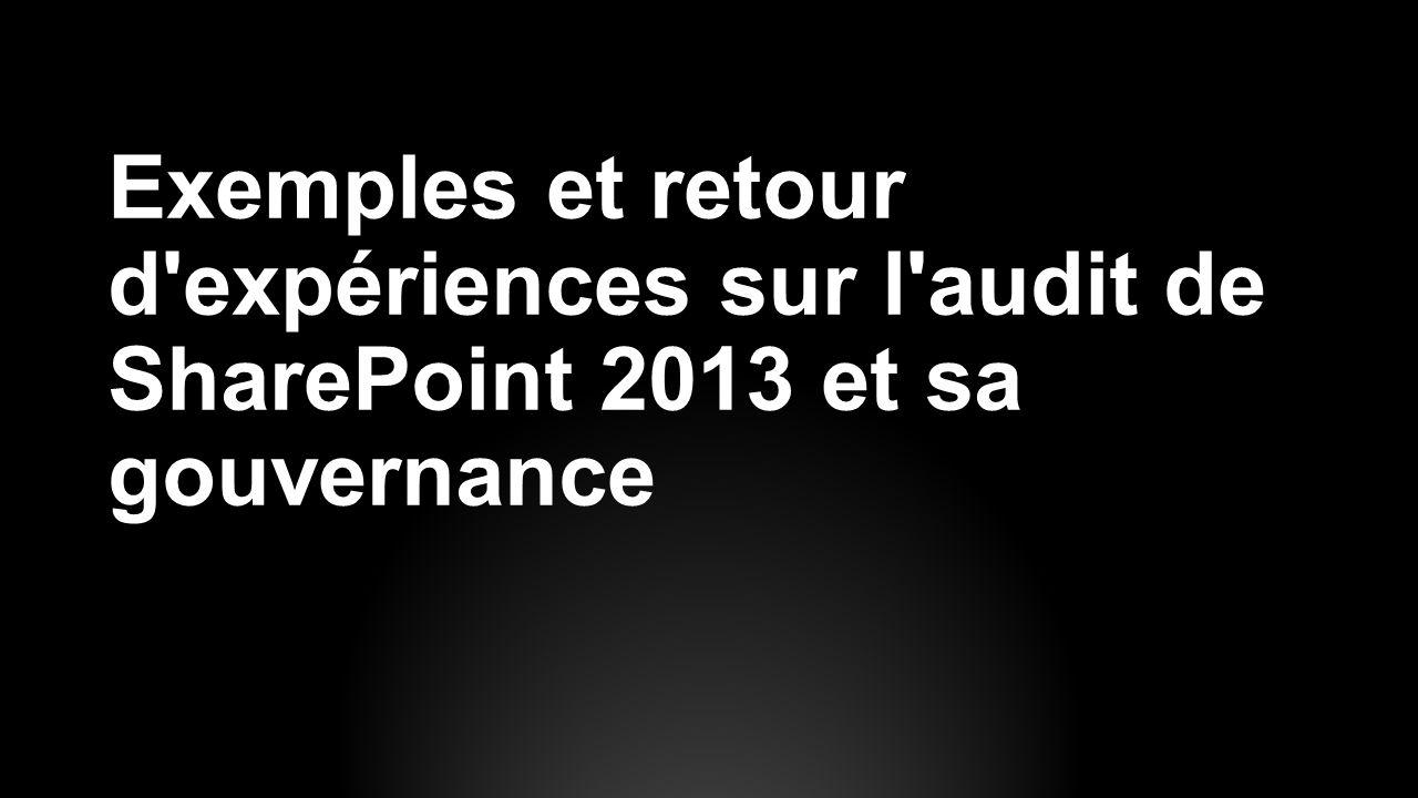 Exemples et retour d expériences sur l audit de SharePoint 2013 et sa gouvernance