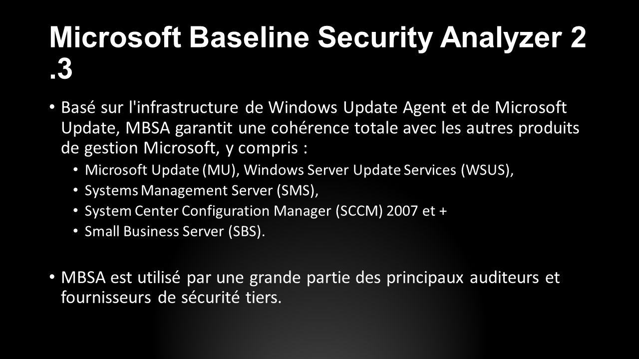Microsoft Baseline Security Analyzer 2.3