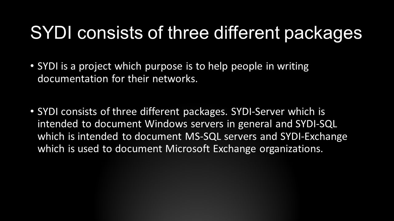 SYDI consists of three different packages