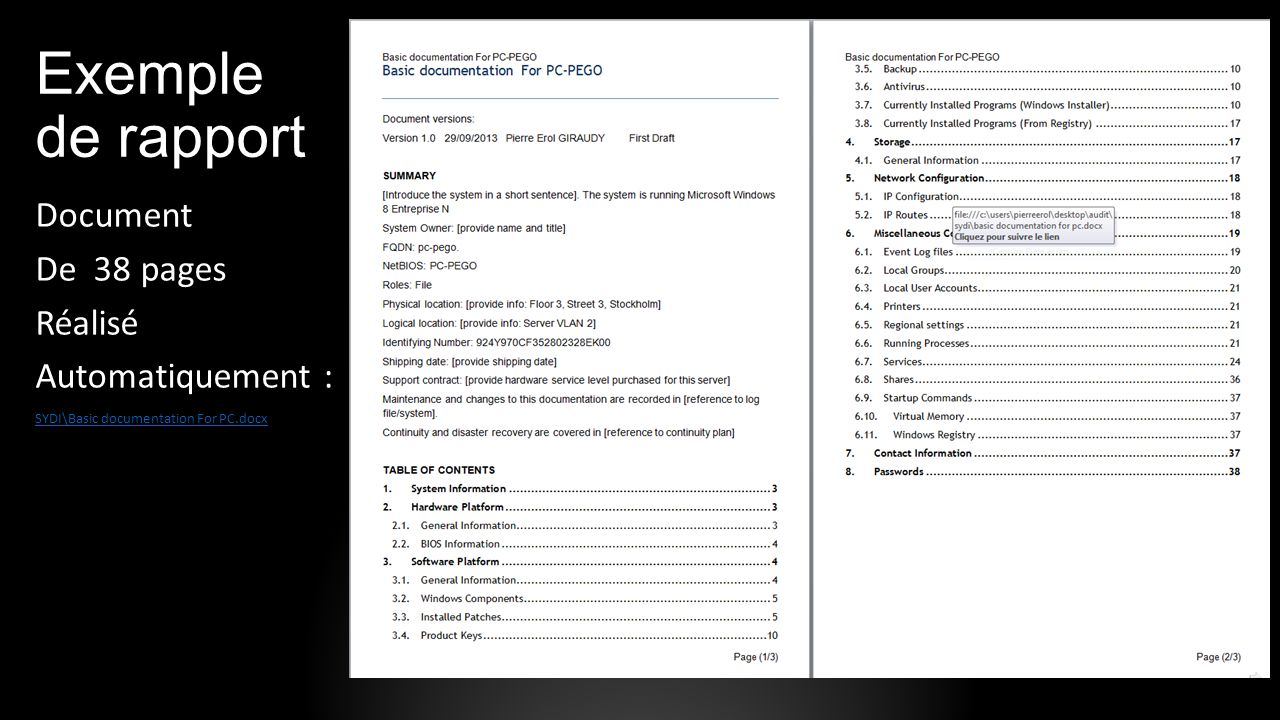 Exemple de rapport Document De 38 pages Réalisé Automatiquement :