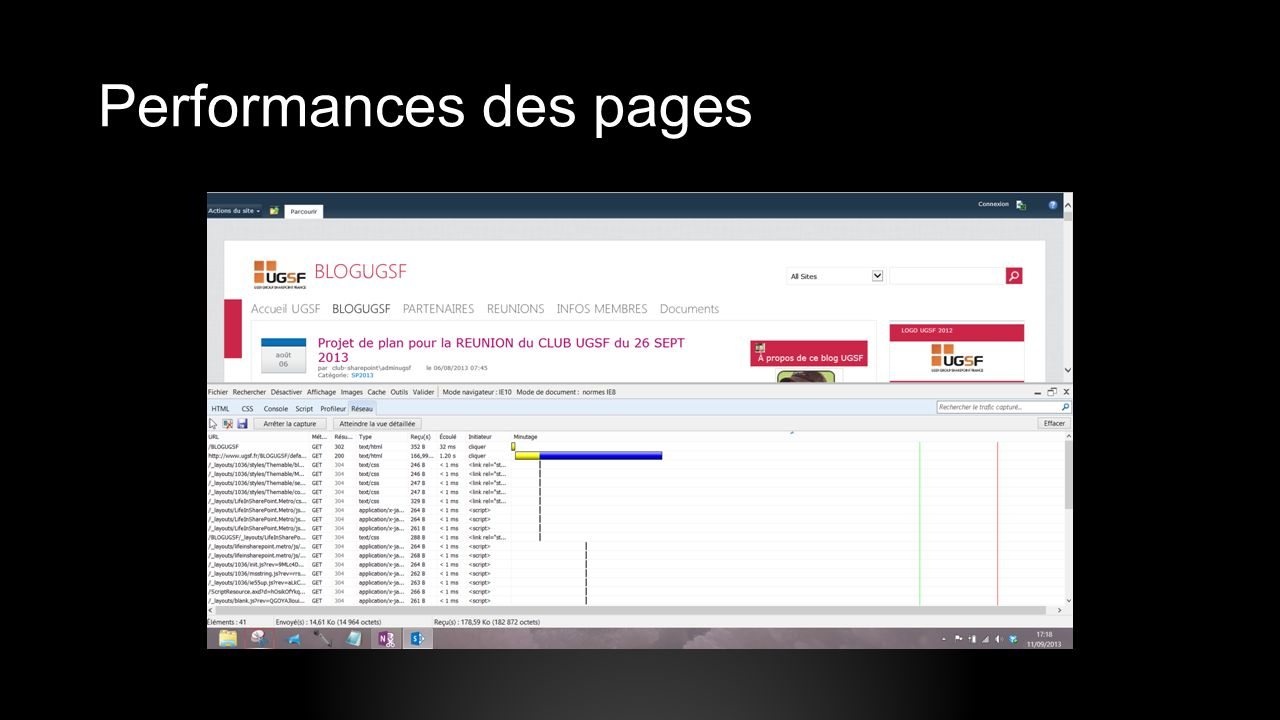 Performances des pages